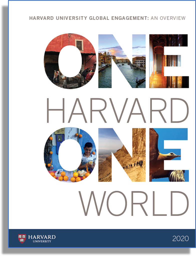 """""""One Harvard, One World"""" brochure 2020 edition cover page screenshot"""