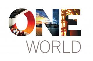 "Cover art for ""One Harvard, One World"" brochure 2018 edition"